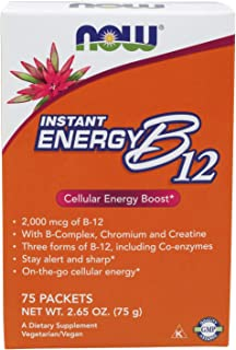 NOW Supplements, Instant Energy B-12 (2,000 mcg of B-12 per packet), 75 Packets