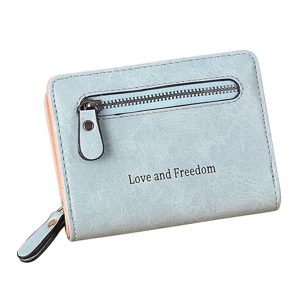 意欲雇用者トライアスロンEldori Love and Freedom 英字 デザイン 女性二つ折り財布 レザー ク シンプル 多機能 大容量 カード財布