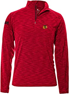Levelwear LEY9R NHL Chicago Blackhawks Men's Mobility Insignia Strong Style Quarter Zip Mid-Layer Apparel,  Large,  Flame Red