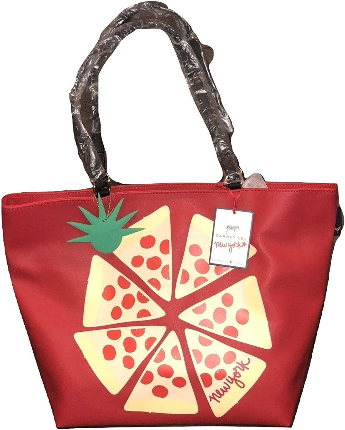 Dabney Lee Red Tote with Pizza