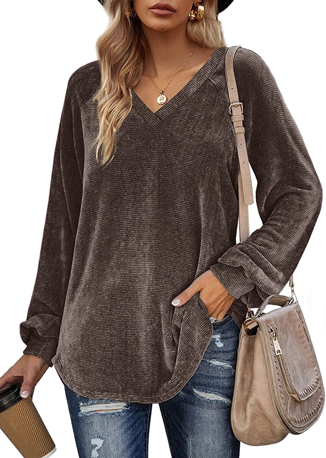 Sieanear Sweaters for Women Oversized Pullover Sweatshirts Casual V Neck Balloon Sleeve Tops