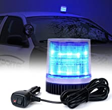Xprite Blue 12LEDs Rotating Revolving LED Beacon Strobe Light, with Magnetic Mount for Snow Plow Truck UTV 12v Vehicle