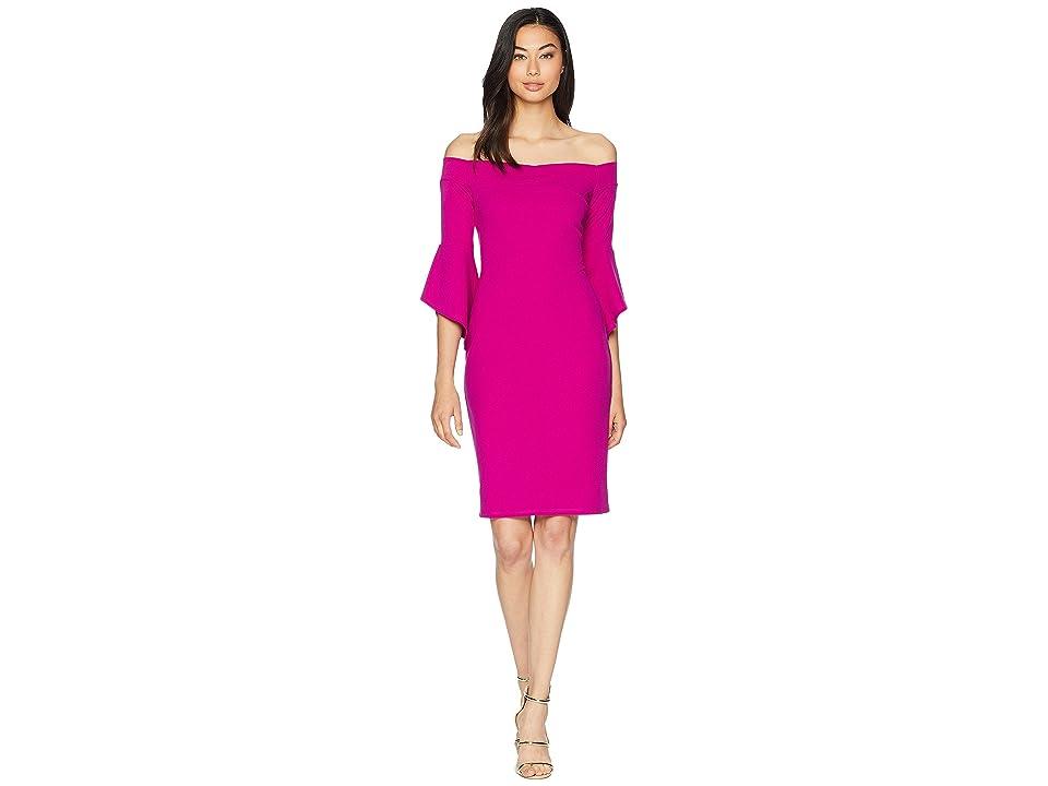 Bebe Off the Shoulder w/ Flowy Sleeve Dress (Fuchsia) Women