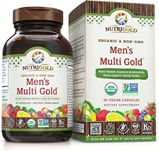 Nutrigold Organic Multivitamin for Men, Men's Multi Gold, 90 Capsules, Plant-Based Whole Food Multivitamin Without Iron, Non-GMO, Vegan, Kosher