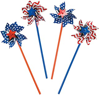 Fun Express American Flag Patriotic Pinwheels (36 per Order) Fourth of July Party - Patriotic Party Decorations