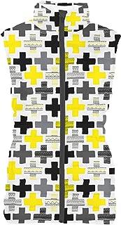 Rainbow Rules Geometric Cross Womens Puffer Vest Bodywarmer Gilet