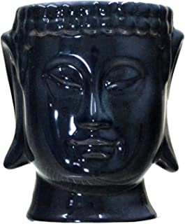Buddha Head Ceramic Flower Pots & Planters, black