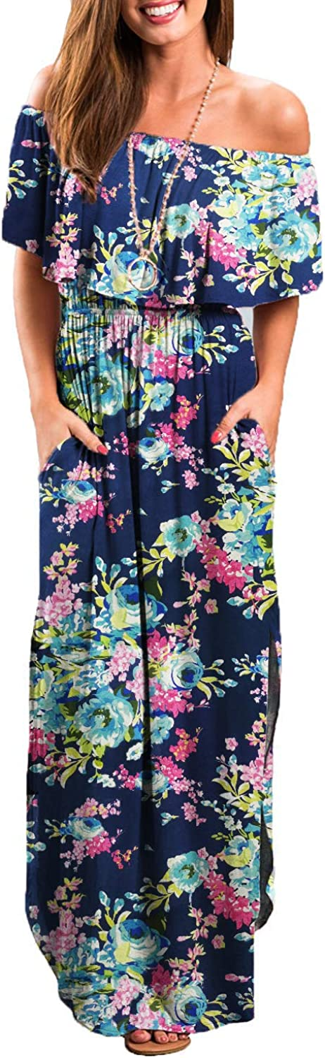 Othyroce Womens Off The Shoulder Maternity Maxi Dress Casual Side Split Beach Maxi Dresses with Pockets at  Women's Clothing store