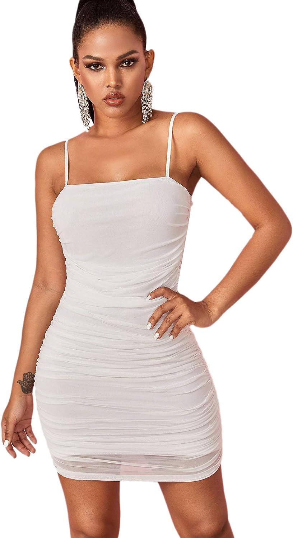SheIn Women's Sexy Sleeveless Spaghetti Strap Ruched Mesh Cami Bodycon Dress