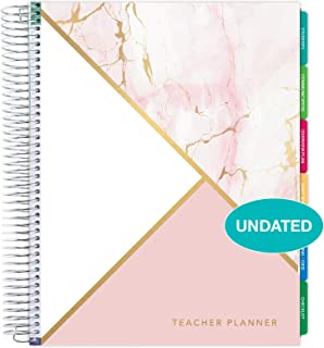"""$32 » Deluxe Undated Teacher Planner: 8.5""""x11"""" Includes 7 Periods, Page Tabs, Bookmark, Planning Stickers, Pocket Folder Daily Weekly Monthly Planner Yearly Agenda (Pink Marble Triangles)"""