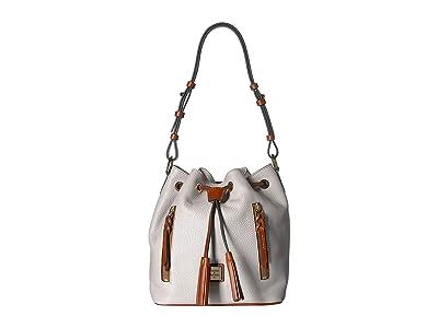 Dooney & Bourke Pebble Cooper Drawstring (Ecru/Tan Trim) Drawstring Handbags
