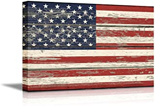 "wall26 - USA Flag on Vintage Wood Background- Canvas Art Wall Decor - 24""x36"""