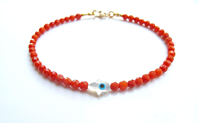 hamsa hand Soldering evil eye bracelet beads coral Online limited product gold