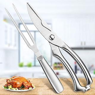 Heavy Duty Stainless Steel Poultry Shears, Premium Ultra Sharp Spring-Loaded Kitchen Food Scissors For Bone, Chicken, Meat...