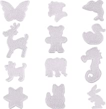 Xgood 12 Pieces Fuse Beads Pegboards Clear Animal Shape Plastic Template Beads Boards for Kids Craft Beads
