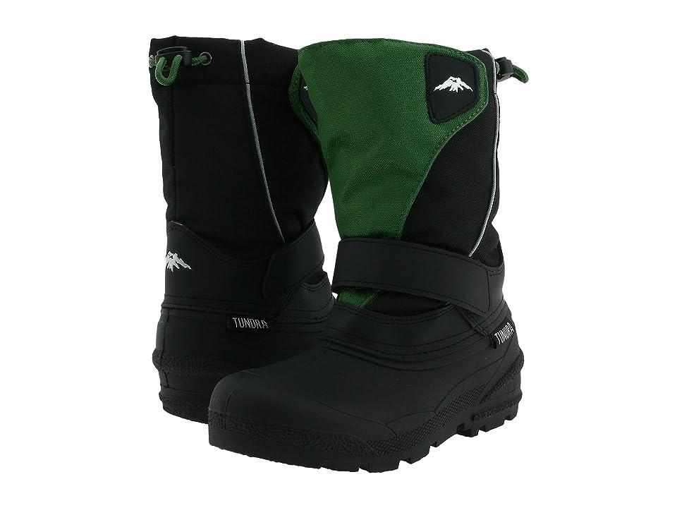 Tundra Boots Kids Quebec (Toddler/Little Kid/Big Kid) (Black/Green) Boys Shoes