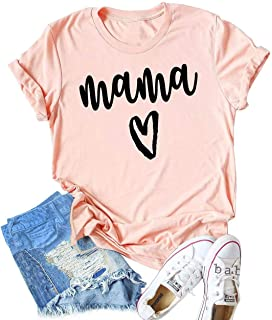 KIDDAD Women's Mama Heart Graphic Mom Letter Printed T-Shirt Funny O-Neck Summer Short Sleeve Tops Blouse