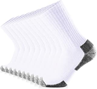 JOURNOW 10 Pairs Men's Cotton Extra Heavy Cushion Crew Socks