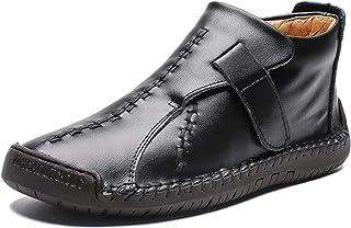 MAIAMY Bottines pour Hommes Chaud en Peluche Confortable sans Lacet Chaussures en Cuir résistant à l'usure antidérapant Au...