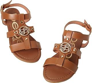 bebe Girls Iridescent Sandals with Medallion Logo and Adjustable Strap