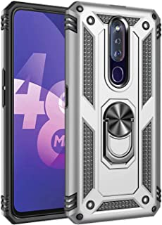 Dalchen for OPPO F11 Pro Case,Military Grade Drop Tested Full-Body Protective Case,Rotating Metal Ring Holder Cover,2* Tem...