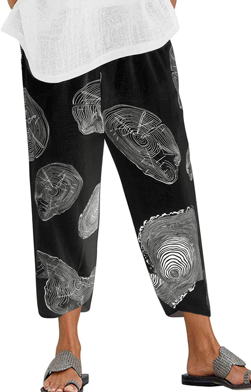 ZANZEA Women's Casual Loose Cotton Cropped Pants Print Wide Leg Elastic Waist Comfy Lounge Palazzo Trousers