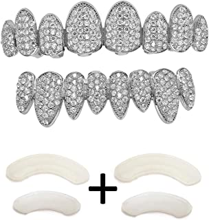 Gold Grillz Iced Out CZ Diamond Top & Bottom Set Grill 24K Gold Plated Macro Pave Teeth Grills - Extra Molding Bars Included + Storage Case + Microfiber Cloth