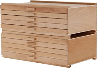 U.S. Art Supply 10 Drawer Wood Artist Supply Storage Box - Pastels, Pencils, Pens, Markers, Brushes