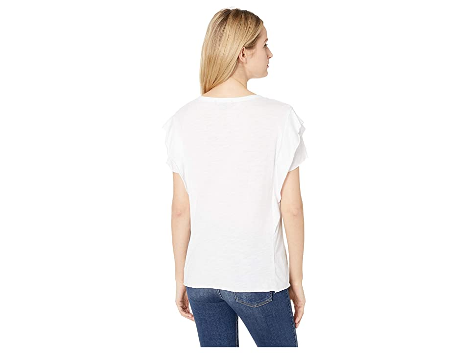 Sanctuary Camina Ruffle Tee (White) Women's T Shirt