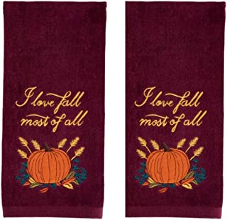 Celebrate Fall Bathroom Towels - Red and Gold Autumn Bathroom Hand Towel with Pumpkins - Set of 2