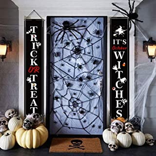 Halloween Decoration Sign Banner Trick or Treat,Halloween Outdoor Signs for Home Garden Office Porch Front Door Hanging Decor (2pc Black)