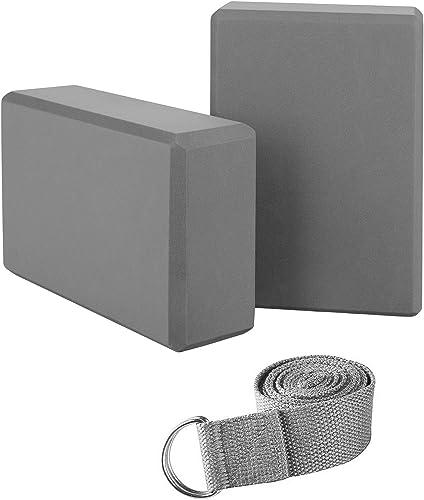 WayEee Yoga Block 2pcs Yoga Brique avec Ceinture de Yoga de 1,8 m Briques de Yoga Stable et Antid/érapant et Pilates Block pour D/ébutants et Avanc/és