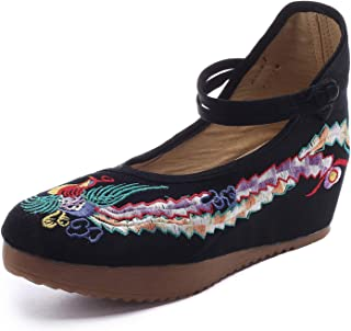 Redluck Women's Chinese Phoenix Embroidered Oxfords Rubber Sole Cheongsam Shoes