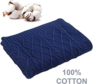 Aztocratic Combed Cotton Throw Blanket, Super Soft Cozy Lightweight Fluffy Oversized, Sustainably Produced Jacquard Cable Knit Throw for Sofa Couch Bed Chair - 50 x 70 Inches Navy Blue