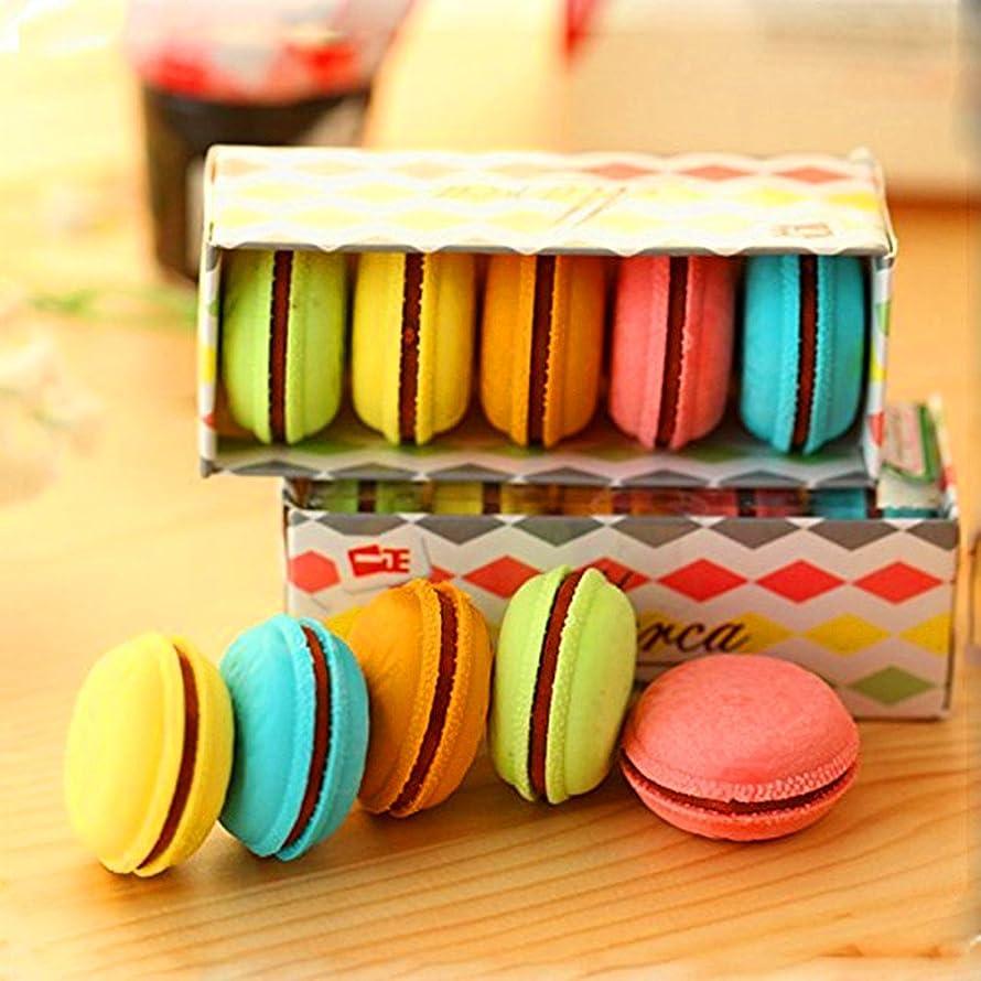 Amberetech Plastic Macaron Eraser Multi-colors Macarons Dorayaki Cookie Rubber for Pupils Kids School Office Stationary Kits,Set of 5