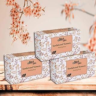 Mirah Belle - Organic Sandalwood Turmeric (Haldi Chandan) Healing Soap Bar (Pack of 3-125 gm) - For Acne, Breakouts, Pimpl...