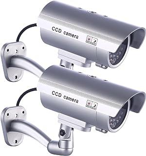2 x Cámara Falsa Dummy Cámara idaodan Cámara CCTV Seguridad supervisión de Agua Densidad con Blink endem Luz Roja LED de Plata