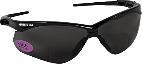 KLEENGUARD V60 Nemesis Vision Correction Safety Sunglasses (22518), Smoke Readers with +2.0 Diopters, Black Frame, 6 Pairs/Case