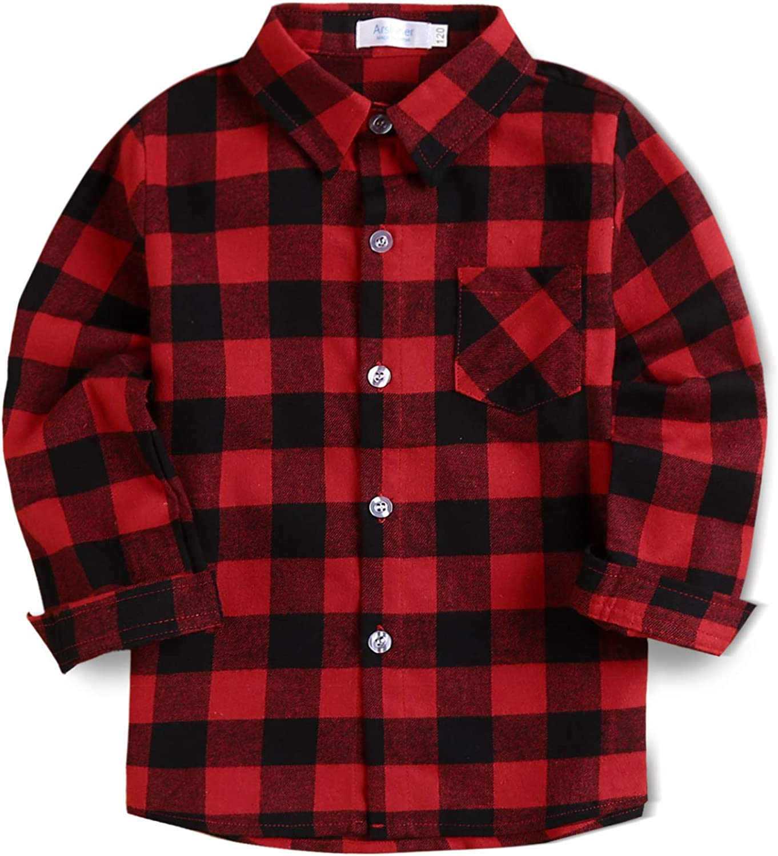 Arshiner Toddler Boys Girls Long Sleeve Plaid Shirt Button-Down Flannel T-Shirt Kids Tops(2t-7t)