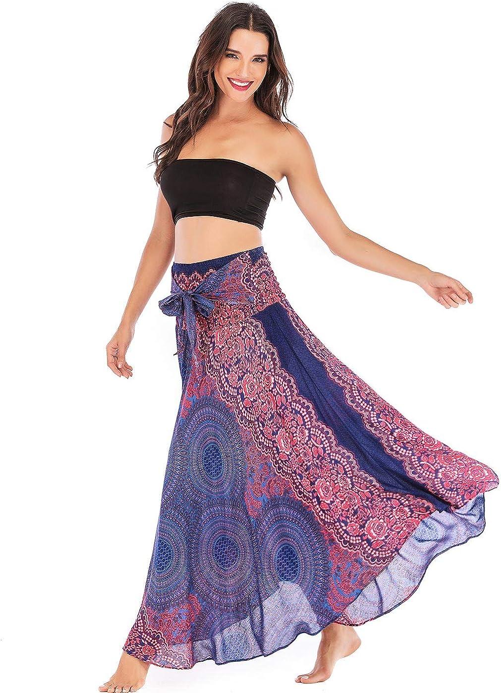 FEOYA Women's Flowy Bohemian Dress Gypsy Print Maxi Skirt Long Skirt  Original 20 in 20 Wrap Skirts