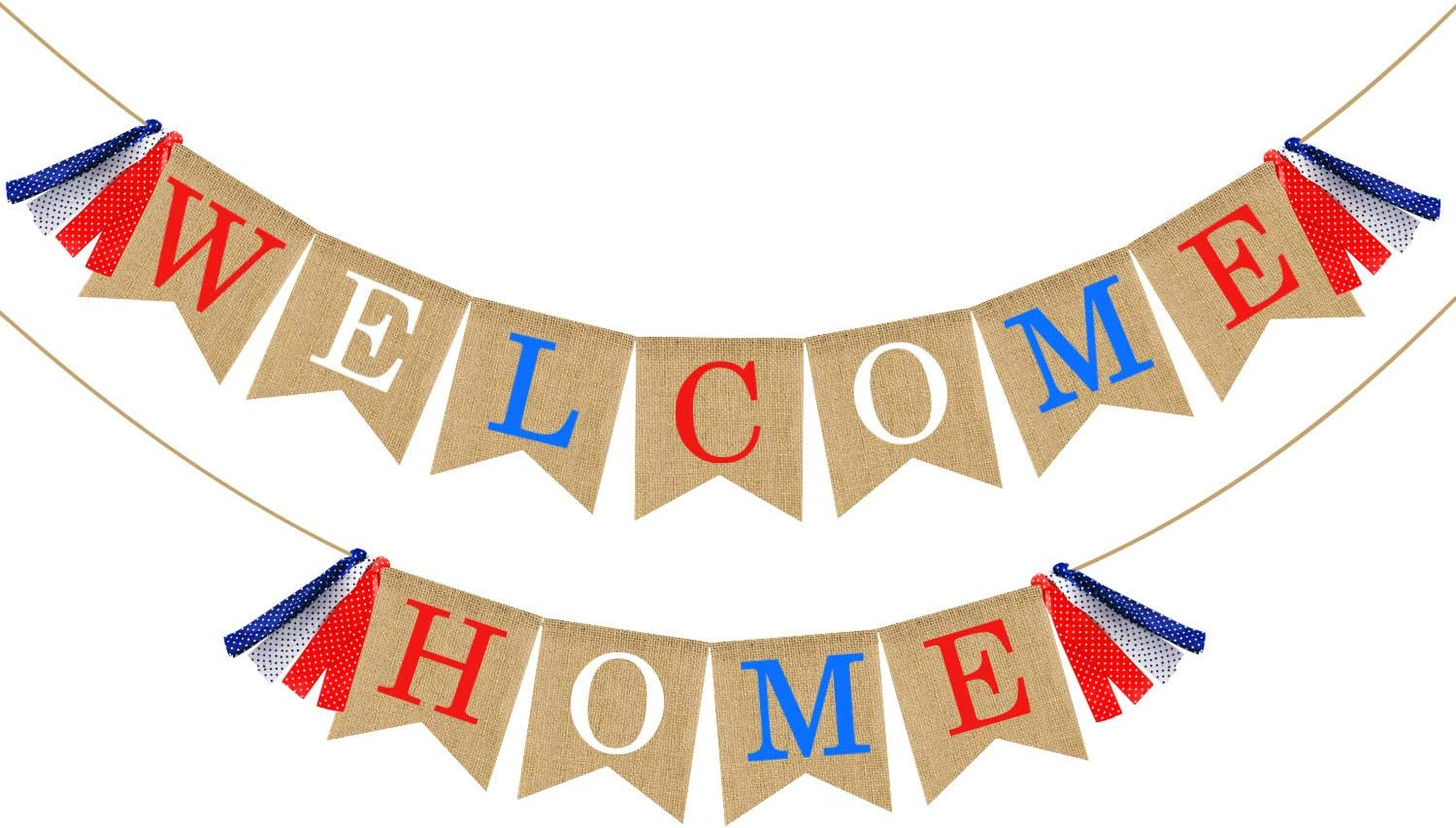 Welcome Home Banner Burlap Military Patriotic Nashville-Davidson Mall Excellence Bunting -