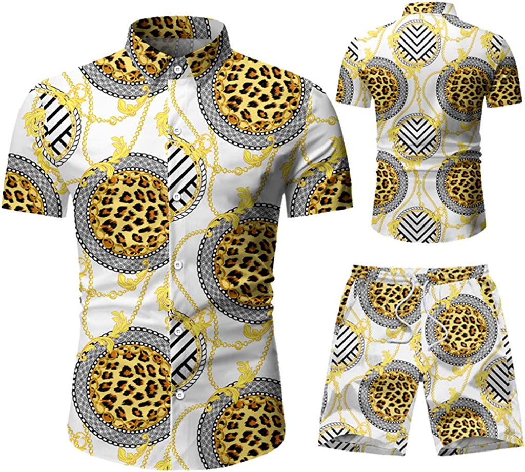Men's Tracksuit Ethnic Style Printed Casual Button Down Short Sleeve 2 Piece Top and Shorts Suit Jumpsuit