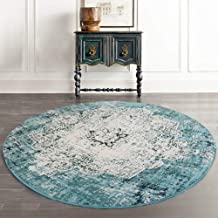 Traditional Vintage Nordic Bohemian Round Rugs Faded Large Carpet Floor Mat for Living Room Bedroom (Green, 80cm)