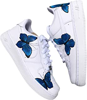 HANDPAINTED Nike AF1 - ONLY 25 Made - BLUE BUTTERFLY AIR FORCES