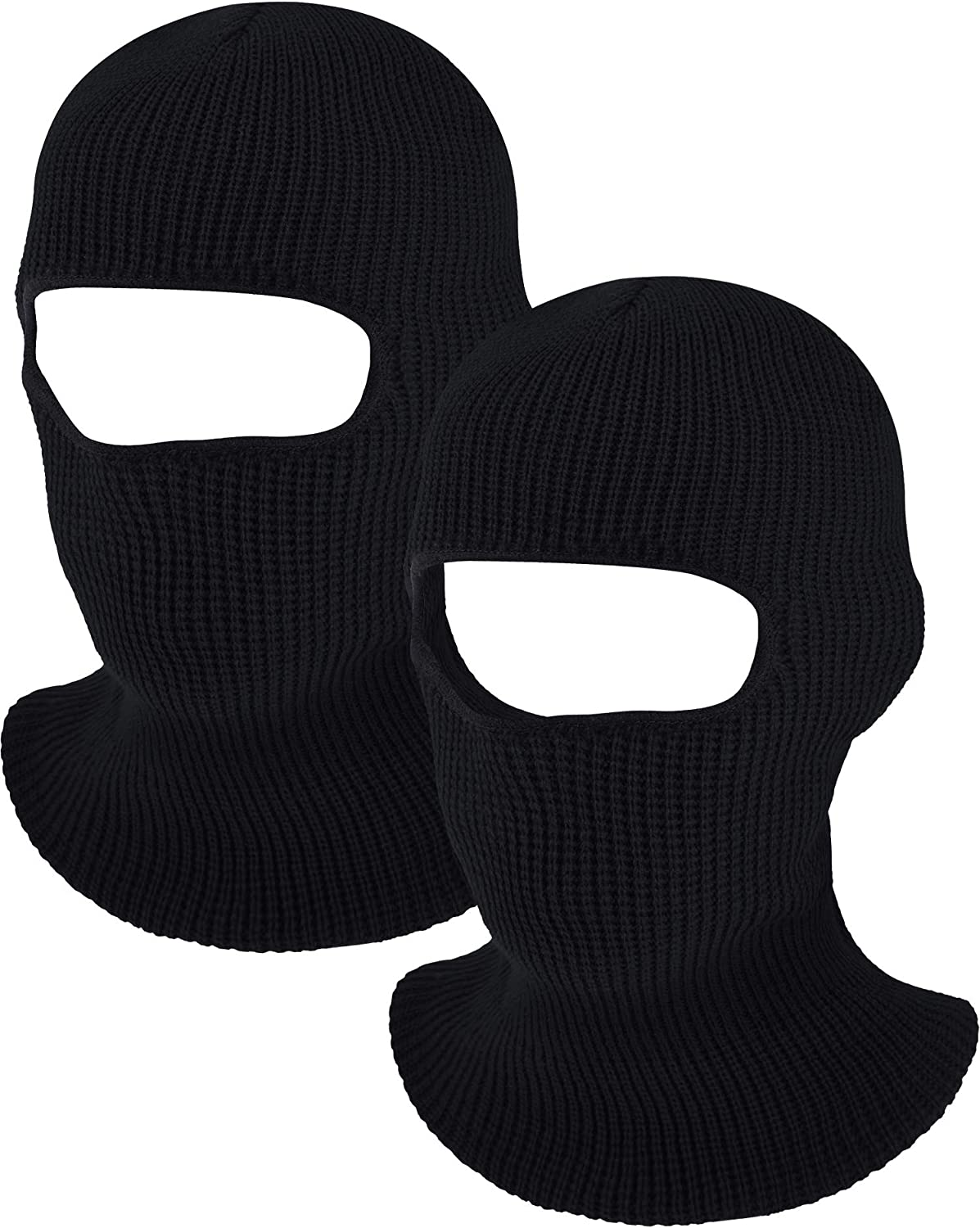 WILLBOND 2 Pieces 1-Hole Knitted Ski Full Face Covering Adult Winter Balaclava for Outdoor Sports