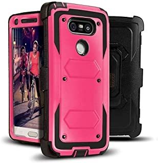 LG G5 Case, Jwest Full-body Rugged Combo Holster G5 Case + Belt Swivel Clip Shock Absorption TPU Scratch Resist Bumper Protective Cover WITHOUT Built-in Screen Protector for LG G5 2016 (Rose Pink)