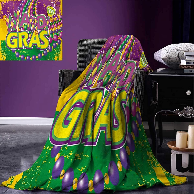 Anniutwo Mardi Gras King Flannel Blanket Grunge Background colors Vivid Beads Vintage Letters Joyful Print Weave Pattern Extra Long Blanket 90 x108  Purple Green Yellow
