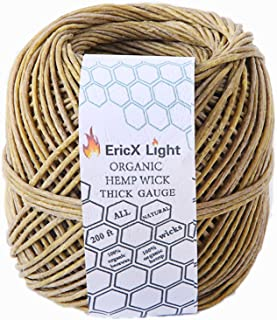 EricX Light Thick Organic Hemp Wick , 200 FT Spool, Well Coated With Natural BeesWax, Thick Size(2.0mm)