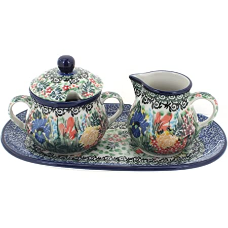 Blue Rose Polish Pottery Goldfinch Sugar /& Creamer Set