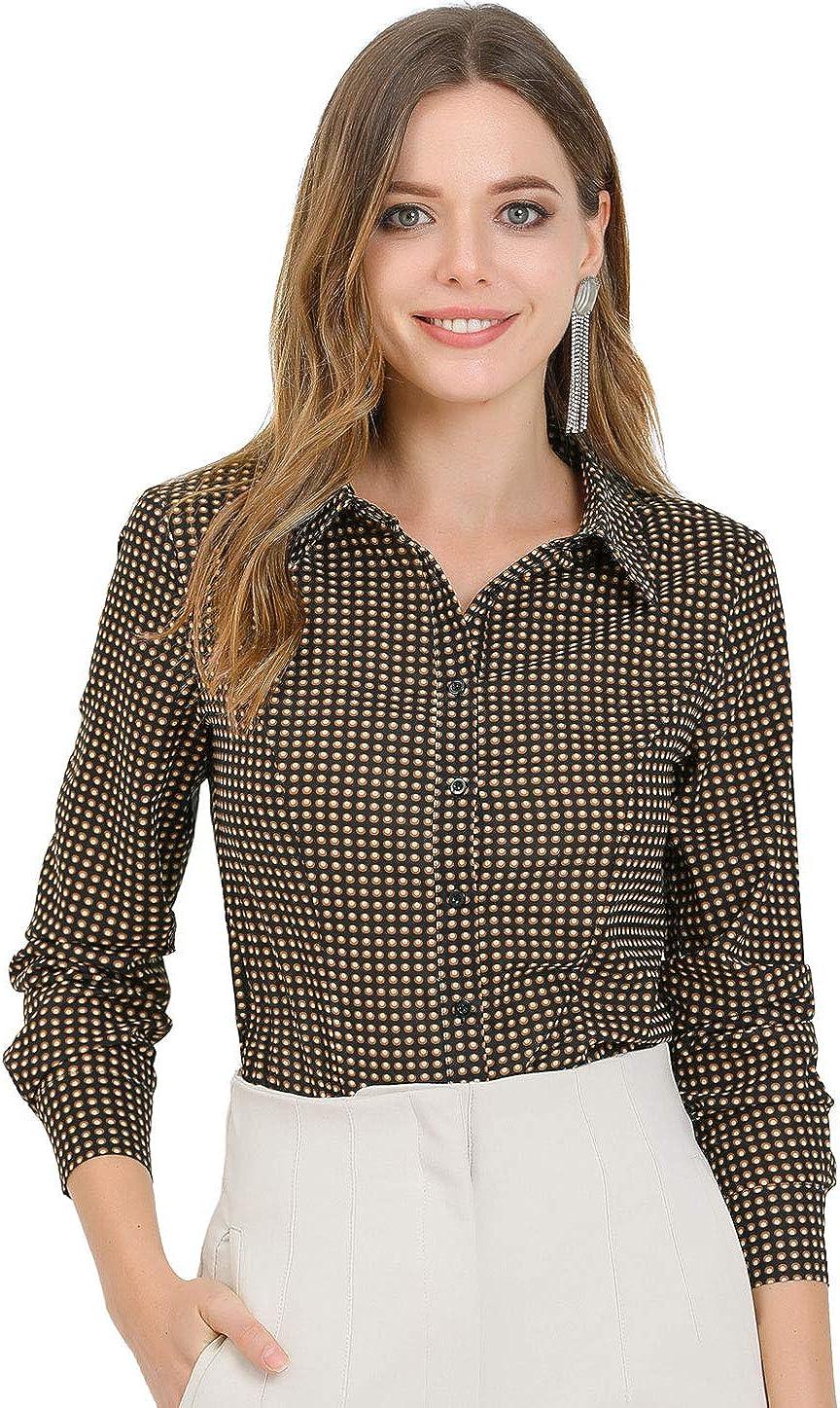 Allegra K Women's Office Work Point Collar Polka Dots Printed Blouse Button Down Shirt